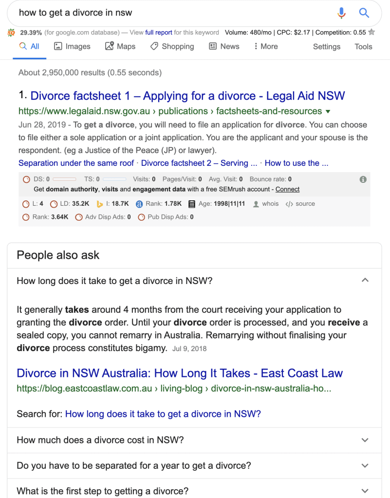 law firm featured snippets