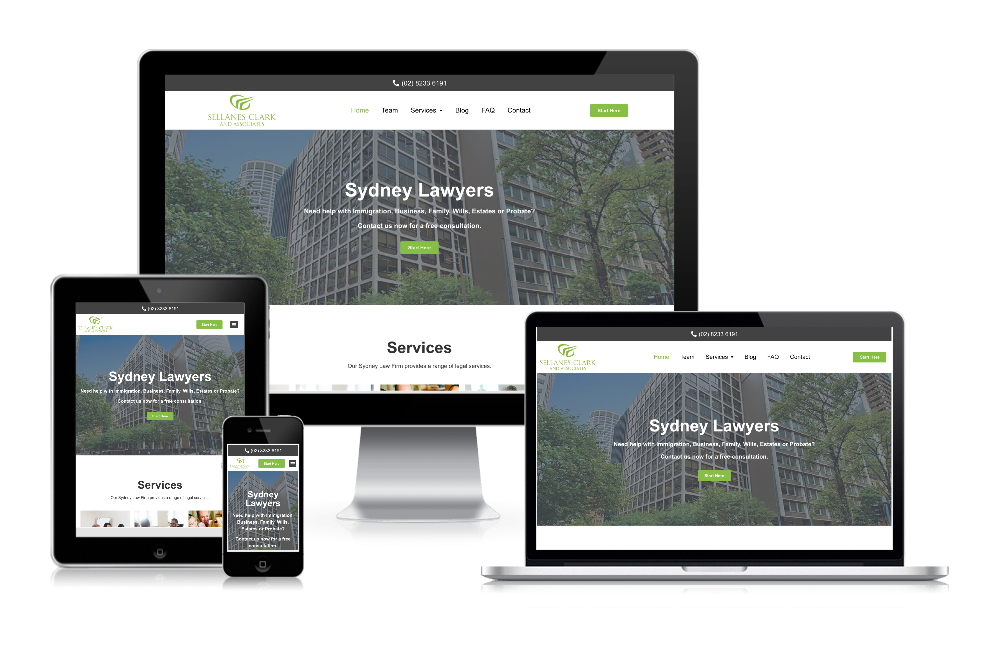 Sellanes Clark and Associates responsive website mockup, showing mobile, tablet and desktop versions of their new website.
